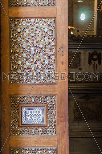 Close shot for the old wooden door of Al-Rifa'i Mosque, Cairo, Egypt