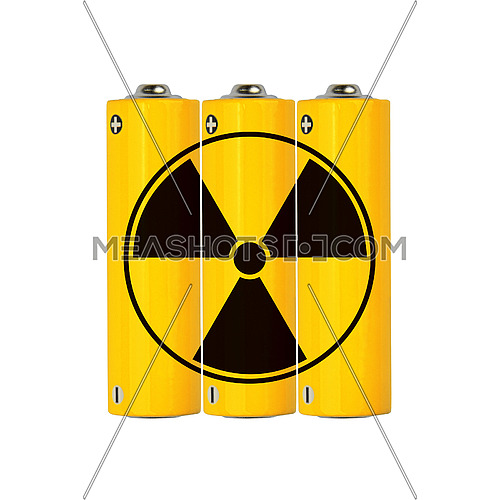 Close up group of vivid yellow alkaline AA batteries with black radioactive danger sign isolated on white background