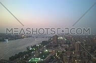 Cairo timelapse showing river nile from sunset to night