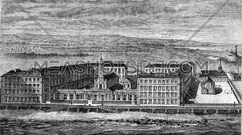 Hospital of Berck-sur-Mer, vintage engraved illustration. Magasin Pittoresque 1882.