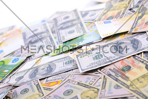business money background with us dollars and european euro