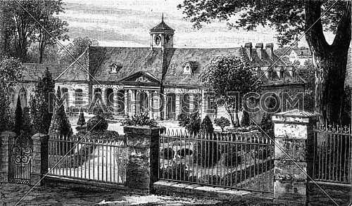 Courtyard and facade of Luxeuil Baths, vintage engraved illustration. Magasin Pittoresque 1869.