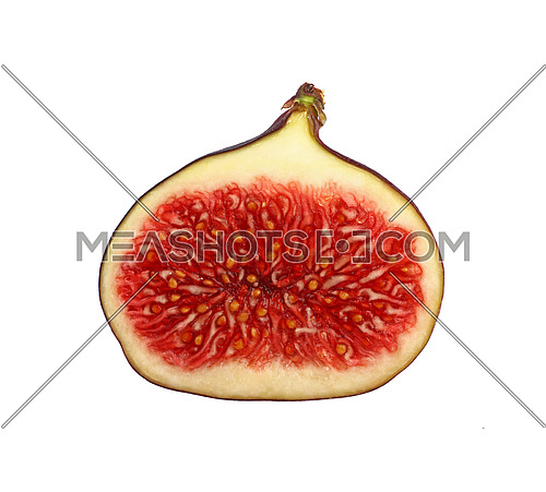 Close up half cut of fresh ripe juicy fig fruit isolated on white background, low angle side view