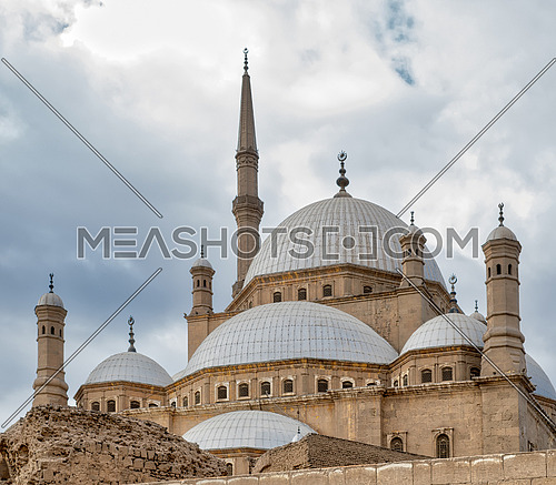 Domes of the great Mosque of Muhammad Ali Pasha (Alabaster Mosque), situated in the Citadel of Cairo, Egypt, commissioned by Muhammad Ali Pasha