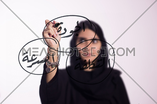 Arabian middle eastern business woman writing with a marker on virtual screen  in arabic cost, quality & speed isolated on white background