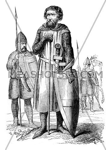 Military costumes, vintage engraved illustration. Magasin Pittoresque 1844.