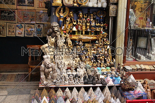 a photo of a gifts shop selling traditional gifts & handicrafts in old Cairo Markets in Egypt