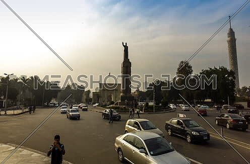 Fixed shot for Opera Square at Cairo at Sunset