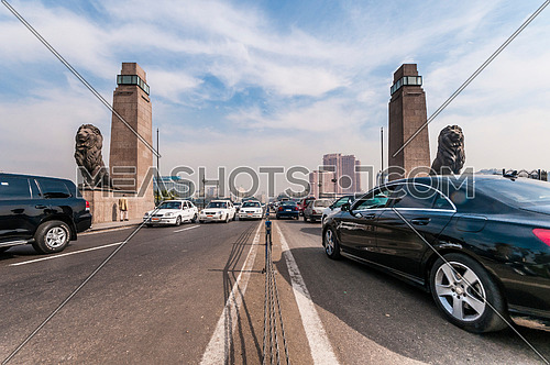 Long shot for Qasr Al Nile Bridge at day