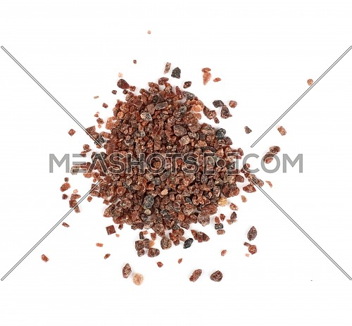 Close up one portion, heap of crystals Indian brown Kala Namak salt isolated on white background, elevated top view, directly above