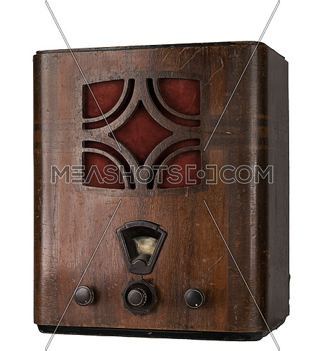 Cut Out Still Life Of  an Aged Wooden Analog Radio in Studio with White Background