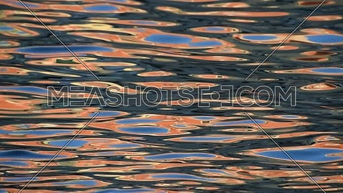 Colorful abstract moving background of vivid blue, red and orange ripples and waves running on water surface