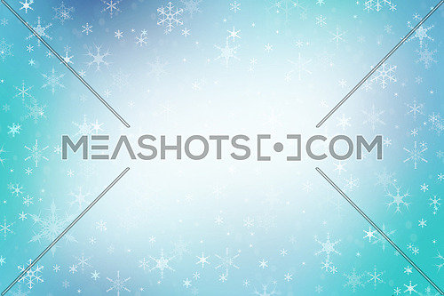 Abstract multicolor teal blue Christmas holiday winter background of falling snow bokeh and snowflakes