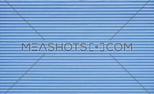 Background texture of pastel blue color painted horizontal metal window roller shutter blinds