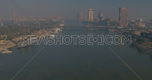 Reveal shot Drone for the river nile in Cairo Downtown at early morning