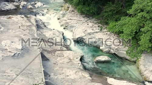 Amazing Serio river with its crystalline green and flowing waters , Bergamo, Seriana valley,Italy.