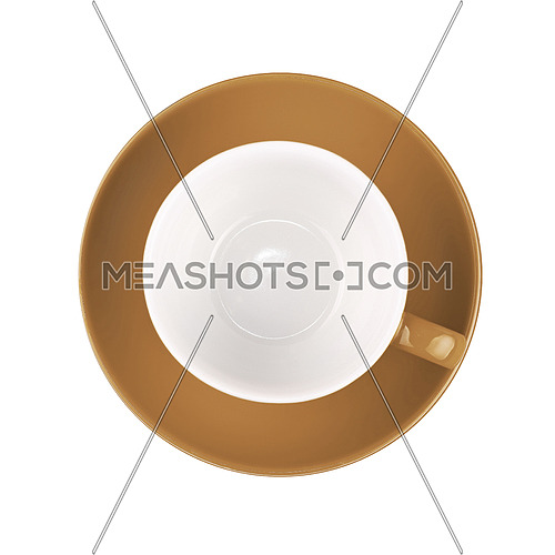 One beige brown empty coffee or tea cup with saucer isolated on white background, elevated top view, directly above