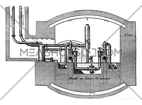 Mailliet pump Bruay mines, Cross section at the back of the machine showing the massive masonry, vintage engraved illustration. Industrial encyclopedia E.-O. Lami - 1875.