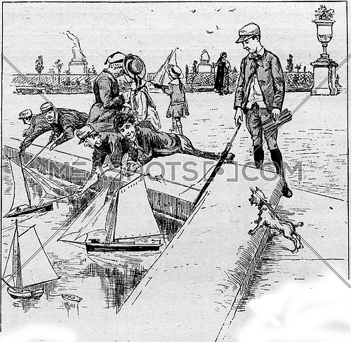 Adults and children at the central pond at Luxembourg Gardens in Paris, France. Vintage engraving.