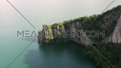 Amazing aerial view of Iseo lake, Bay of the bogn near lovere , Bergamo ,Italy