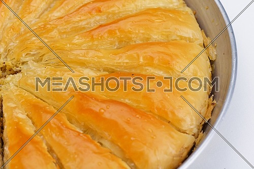 traditional dessert turkish baklava,well known in middle east and delicious isolated on white background