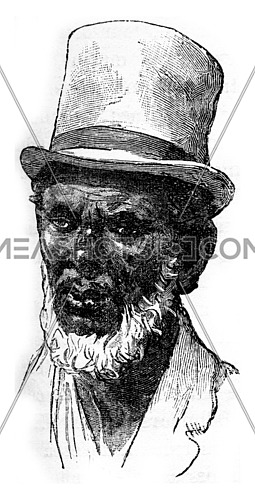 Old man of Aqua city. From Travel Diaries, vintage engraving, 1884-85.