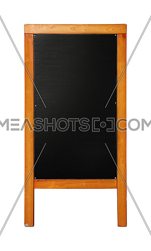 Close up of black standing blank clean chalkboard menu in brown wooden frame isolated on white background