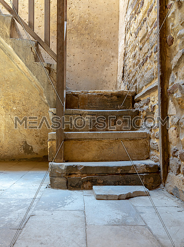 Stone staircase with wooden balustrade, Old Cairo, Egypt