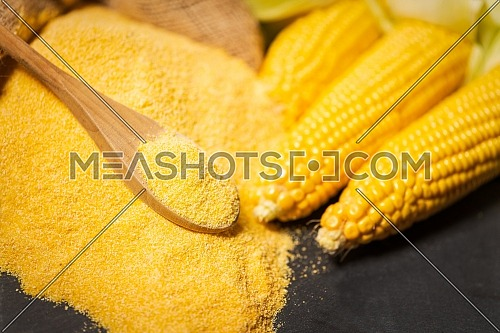 Ripe young sweet corn cob,on left stack cornmeal and spoon on top,dark background, copy space.Gluten free food concept