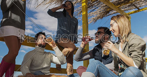 Happy Group Of Friends Hanging Out At Beach House having fun and drinking beer on autumn day