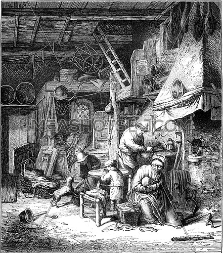 Within a Poor Household, vintage engraved illustration. Magasin Pittoresque 1847.