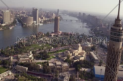 Aerial Shot for the River Nile to Cairo Tower at Cairo at Day