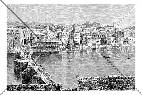 Northern Port of Sidon in Lebanon, vintage engraved illustration. Le Tour du Monde, Travel Journal, 1881