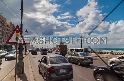 Fixed shot for traffic at seaside at Alexandria at Day