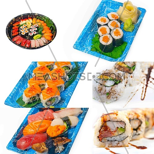 selection of many Japanese sushi dish collage over white frame