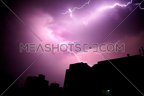 Lightning shines in the skies of Cairo 13 April 2017