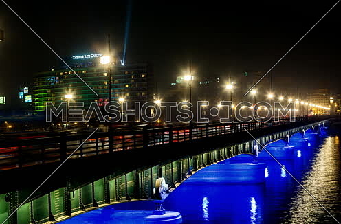 Track Left Shot for Qasr Al Nile Bridge at Night