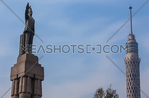Zoom Out Shot for Cairo Tower and Saad Zagloul Statue at Day