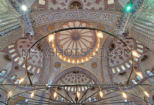 Decorated ceiling at Sultan Ahmed Mosque (Blue Mosque) showing intersection of the four main domes of the ceiling, Istanbul, Turkey