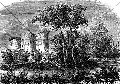View from Castle Blanquefort, vintage engraved illustration. Magasin Pittoresque 1847.