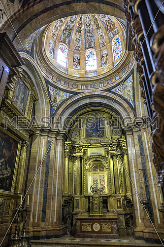 CUENCA, SPAIN - August 24, 2016: Interior of the Cathedral of Cuenca, Chapel of Nuestra Señora del Sagrario, was erected between 1.629 and 1655 as proyecto de el arquitecto Fray Alberto de la Madre de Dios, shaped plant Greek cross and skylight Dome, the frescoes of the dome and vaults made by the painter Andres de Vargas, Cuenca, heritage of humanity Spain