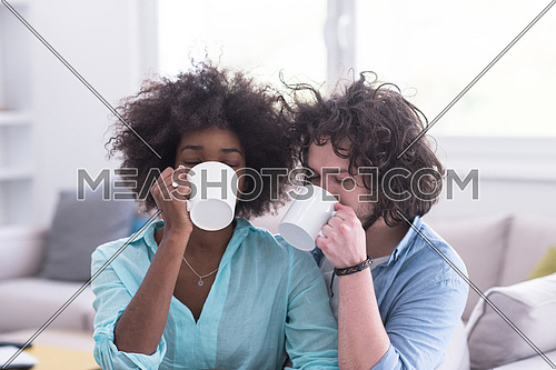 young multiethnic couple sitting on sofa at home drinking coffe, talking, smiling.