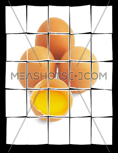 four eggs,one open ;isolated on white background