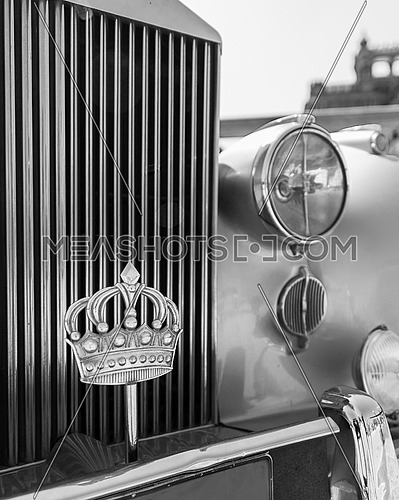 1945 Rolls Royce car with the Royal Crown of Jordan, belonged to King Husayn when he was a student at Alexandria Victoria College, displayed in front of Baron Empain Palace
