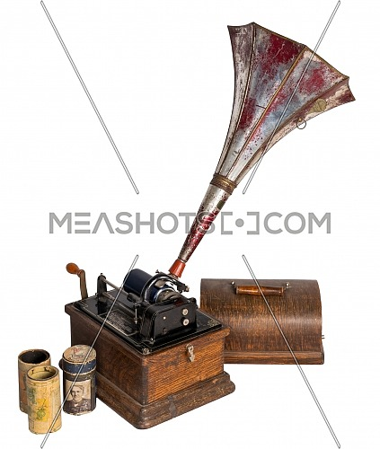 High angle cut out of 1911 Edison Fireside old phonograph with three cylinder records, including clipping path, isolated on white