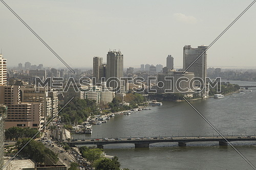 Long shot by the Nile and qasr el nile bridge Cairo Egypt
