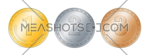 Close up metal (gold, silver and bronze) blank coins or medals template or award achievement badges with one, two, three numbers, isolated on white background