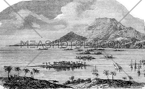 The Guadeloupe, Pointe a Pitre, capital of Grande-Terre, partially destroyed by the earthquake of February 8, 1843., vintage engraved illustration. Magasin Pittoresque 1843.