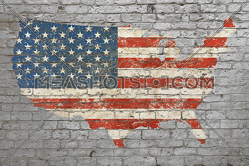 Grunge distressed map shaped flag of USA painted on old weathered grey brick wall