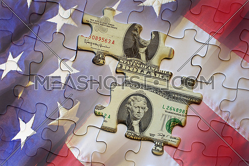United States bank note vs Federal Reserve note against an american flag puzzle
